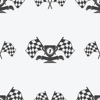 Checkered Flag or racing flags icon seamless pattern first place prize cup and finish ribbon. Sport auto, speed and success, competition and winner, race rally, vector illustration