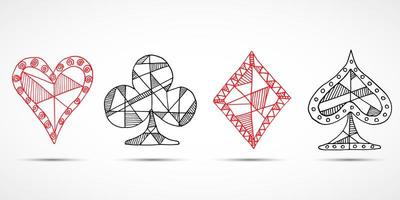Hand drawn sketched Playing cards, poker, blackjack symbol, background, doodle hearts diamonds spades and clubs symbols vector