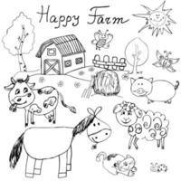 Happy farm doodles icons set. Hand drawn sketch with horse, cow, sheep pig and barn. childlike cartoony sketchy vector illustration isolated