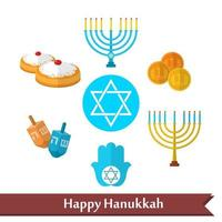 Happy Hanukkah flat vector icons set with dreidel game, coins, hand of Miriam, palm of David, star of David, menorah, traditional food, torah and other traditional items