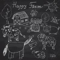 Happy farm doodles icons set. Hand drawn sketch with horse, cow, sheep pig and barn. childlike cartoony sketchy vector illustration on chalkboard background