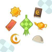 Minimalist Ketupat and Stuff for Eid vector
