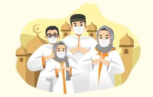 familia con máscara para eid al adha vector