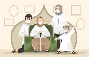 Little Family Gathering on Eid Adha vector