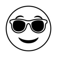 emoji face classic with sunglasses line style icon vector