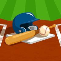 equipo de softbol en la base vector