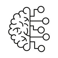 brain human with infographic line style icon vector
