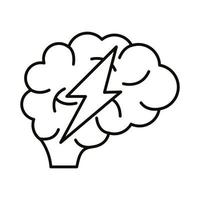 brain human with ray power line style icon vector