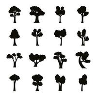 bundle of sixteen trees set collection icons vector