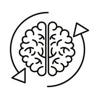 brain human with arrows reload line style icon vector