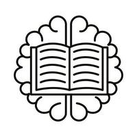 brain human with book line style icon vector