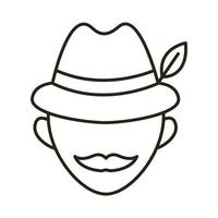 man wearing germany traditional hat accessory line style icon vector