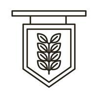 etiqueta con icono de estilo de línea oktoberfest de rama de cebada vector