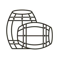 beer barrels wooden oktoberfest line style icon vector
