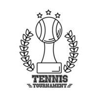 trofeo, pelota, tenis, deporte, con, corona, corona, línea, estilo, icono vector