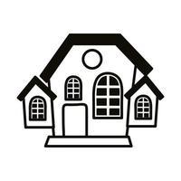 halloween dark house line style icon vector