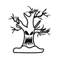 enchanted tree with face line style icon vector