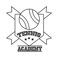 ball tennis sport with ribbons in shield line style icon vector