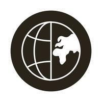 esfera mundo planeta con continentes icono de estilo de bloque vector