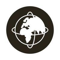 mundo planeta tierra con icono de bloque de estilo viejo continente vector
