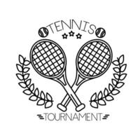 tennis balls and lettering with rackets line style vector