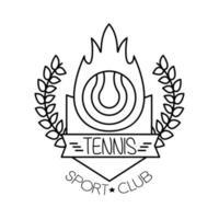 bola de fuego deporte de tenis con corona icono de estilo de línea de corona vector