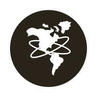 icono de estilo de bloque de mapa del continente americano vector