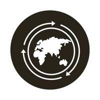 mundo planeta tierra con viejos continentes y flechas icono de estilo de bloque vector