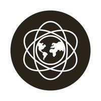 mundo planeta tierra con continentes y líneas de átomo icono de estilo de bloque vector