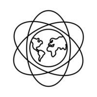 mundo planeta tierra con continentes y líneas de átomo icono de estilo de línea vector