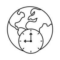 mundo planeta tierra con continentes e icono de estilo de línea de reloj de tiempo vector