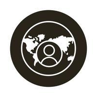 mundo planeta tierra con continentes e icono de estilo de bloque de usuario vector