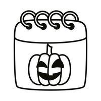 calendario de halloween con estilo de línea de cara de calabaza vector