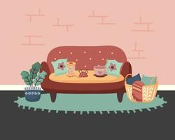 home couch plant and basket vector design