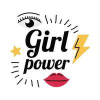 Girl power thunder mouth and eye vector design