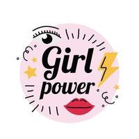 Girl power thunder mouth stars and eye vector design
