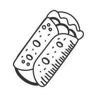 Dibujar a mano burrito y diseño de vector de icono de estilo de línea