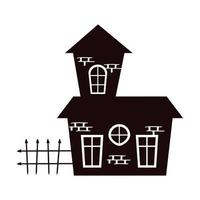 halloween haunted house building with fence silhouette vector