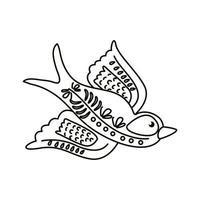 icono de estilo de línea de mosca de pájaro mexicano exótico vector