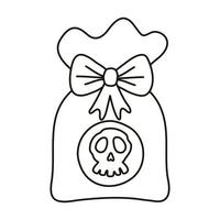 sweet candy bag halloween line style icon vector