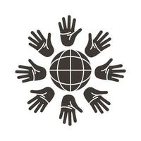 hands palms around of sphere browser silhouette style icon vector