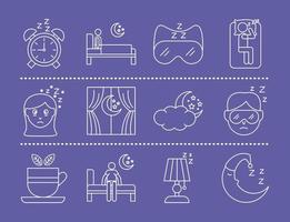 Despertador con paquete de iconos de estilo de línea de insomnio vector