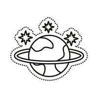 icono de estilo de línea de pegatina de planeta saturno vector