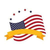 united states of america flag with stars and ribbon vector