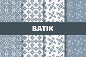 Indonesian batik pattern set vector