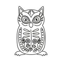 icono de estilo de línea de pájaro búho mexicano exótico vector