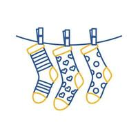 down syndrome socks hanging in wire line style icon vector
