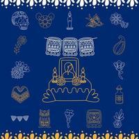 Altar mexicano del día de muertos con conjunto de iconos de estilo de línea vector