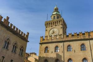 Clock Tower on Palazzo Comunale in Bologna Italy photo