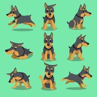 Cartoon character doberman dog poses vector